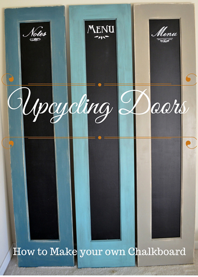 Doors upcycled into chalk boards