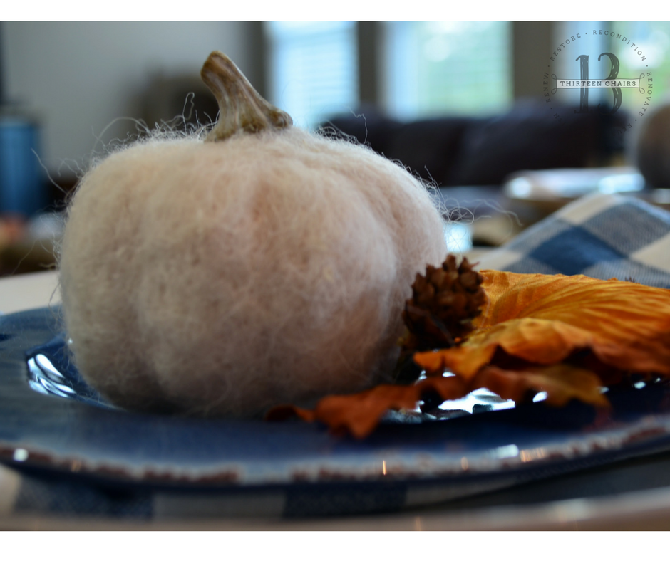 Tabletop with Felted Pumpkin