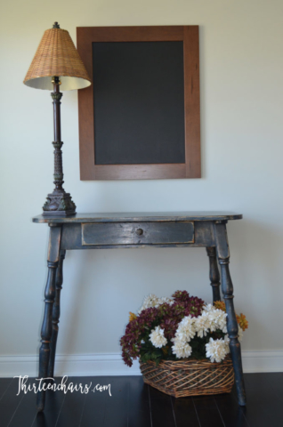 Napoleonic Blue Chalk Paint  and dark waxed Table