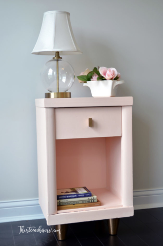 Peachy/Pink chalk paint mid century modern end table with clear wax